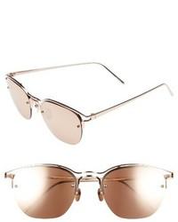 Linda Farrow 55mm Round Sunglasses Rose Gold