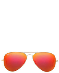 Ray-Ban Metal Flash Lense Aviator In Metallic Gold