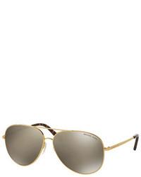 Michael Kors Michl Kors Mirrored Aviator Sunglasses Golden