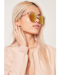 Missguided Cat Eye Metal Frame Revo Lense Sunglasses Gold