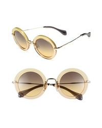 Miu Miu Round Retro Sunglasses Gold One Size