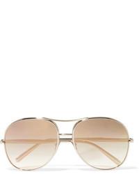 Chloé Nola Aviator Style Gold Tone Mirrored Sunglasses