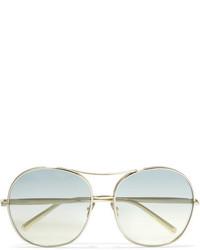 Chloé Nola Oversized Square Frame Gold Tone Sunglasses