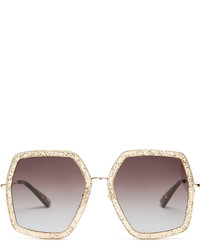 Gucci Oversized Hexagon Frame Sunglasses