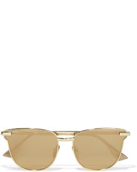 Le Specs Pharaoh Cat Eye Gold Plated Mirrored Sunglasses One Size