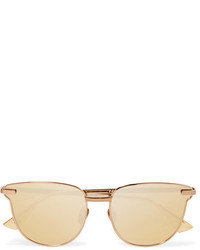 Le Specs Pharaoh Cat Eye Rose Gold Tone Mirrored Sunglasses Bronze