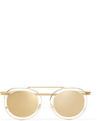 Thierry Lasry Potentially Cat Eye Gold Tone Mirrored Sunglasses