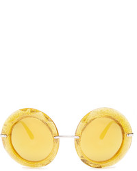 Dolce & Gabbana Round Frame Glitter Acetate Sunglasses