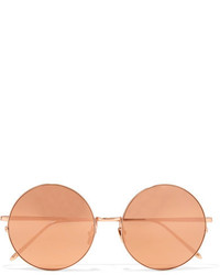 Linda Farrow Round Frame Gold Plated Mirrored Sunglasses