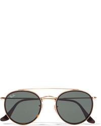 Ray-Ban Round Frame Gold Tone And Tortoiseshell Acetate Sunglasses