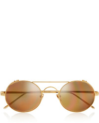 Linda Farrow Round Frame Gold Tone Mirrored Sunglasses