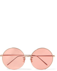 Linda Farrow Round Frame Rose Gold Plated Sunglasses