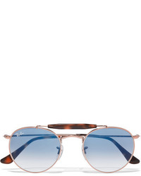 Ray-Ban Round Frame Rose Gold Tone And Acetate Sunglasses