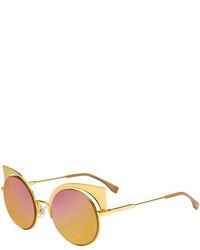 Fendi Runway Mirrored Cutout Sunglasses Gold