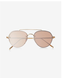 Express Shiny Brow Bar Aviator Sunglasses