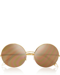 Victoria Beckham Supra Round Frame Metal Mirrored Sunglasses Gold