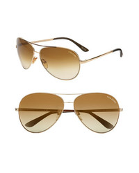 Tom Ford Charles 62mm Aviator Sunglasses Rose Gold One Size