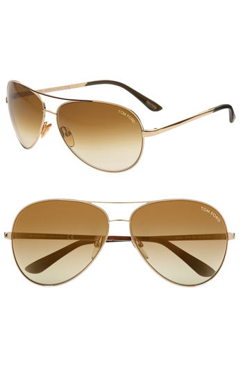 4c6186d246bc ... Tom Ford Charles 62mm Aviator Sunglasses Rose Gold One Size