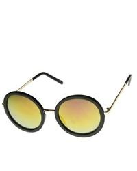 ZeroUV Oversized Mirror Lens Circle Round Sunglasses