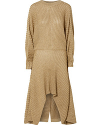 Chloé Asymmetric Ribbed Lurex Midi Dress