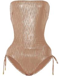 Melissa Odabash Amalfi Printed Metallic Swimsuit
