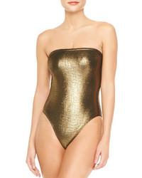 Marie France Van Damme Rafia Metallic Bustier One Piece Swimsuit