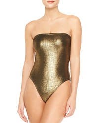 Marie France Van Damme Rafia Metallic Bustier One Piece Swimsuit