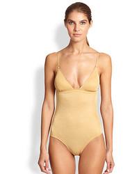 Melissa Odabash One Piece One Shoulder Metallic Swimsuit