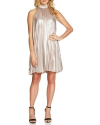 1 STATE 1state Pleated Metallic Swing Dress