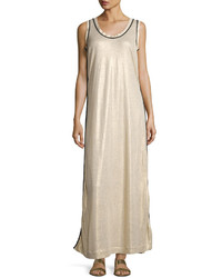 Brunello Cucinelli Long Lam Tank Dress Gold