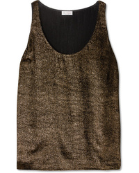 Brunello Cucinelli Metallic Ribbed Jersey Top