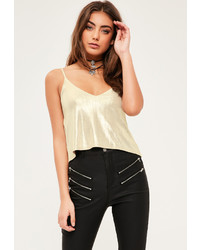 Missguided Petite Gold Metallic Cami Top