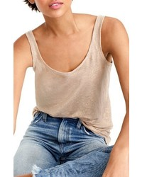 J.Crew Scoop Neck Metallic Linen Tank Top