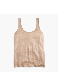 J.Crew Scoopneck Linen Tank Top In Metallic