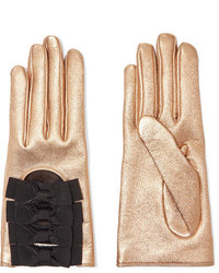 Gucci Bow Embellished Metallic Textured Leather Gloves Gold
