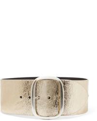 Isabel Marant Tikky Metallic Textured Leather Waist Belt Gold