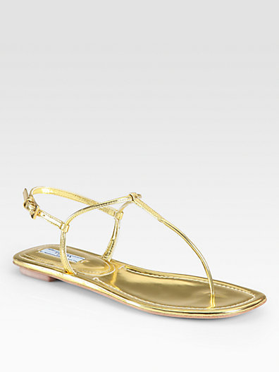 4469d97bed58 ... Gold Thong Sandals Prada Metallic Leather Thong Flat Sandals ...