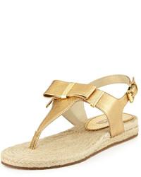 a46cfe748a95 ... MICHAEL Michael Kors Michl Michl Kors Meg Leather Bow Thong Sandal Pale  Gold