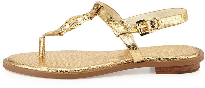 ee16cde3ada7 MICHAEL Michael Kors Michl Michl Kors Sondra Snake Print Logo Thong Sandal  Pale Gold