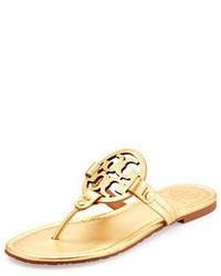 Miller metallic logo thong sandal gold medium 53201