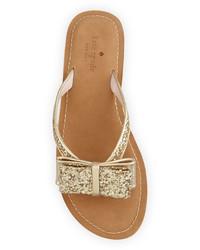 b5f6ef910364 ... Kate Spade New York Icarda Glitter Bow Flat Thong Sandal Gold