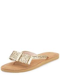 Kate Spade New York Icarda Glitter Bow Flat Thong Sandal Gold