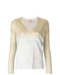 Nude Metallic V Neck Pullover