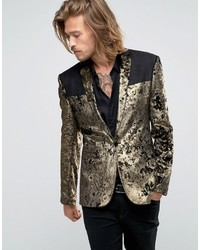 Asos Super Skinny Blazer In Gold Velvet