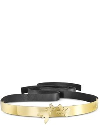 Patrizia Pepe Butterfly Gold Tone Metal With Black Leather Belt