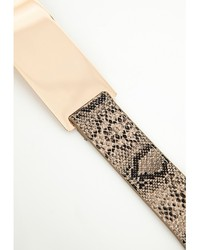 Missguided Snake Gold Plate Belt Natural