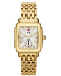 Michele 16mm Deco Diamond Dial Watch Head Gold