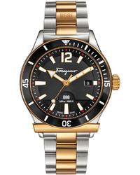 Salvatore Ferragamo 1898 Gold Ip Bracelet Watch With Black Dial