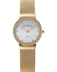 Skagen 358sggd Freya Gold Toned Stainless Steel And Mesh Watch