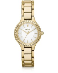 DKNY Chambers Gold Tone Watch With Glitz